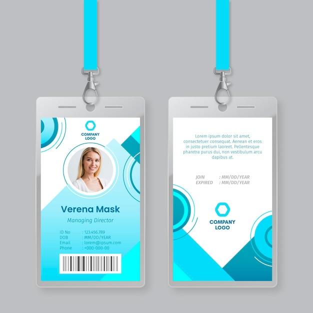 Plantilla de tarjetas de identificación de estilo abstracto vector gratuito