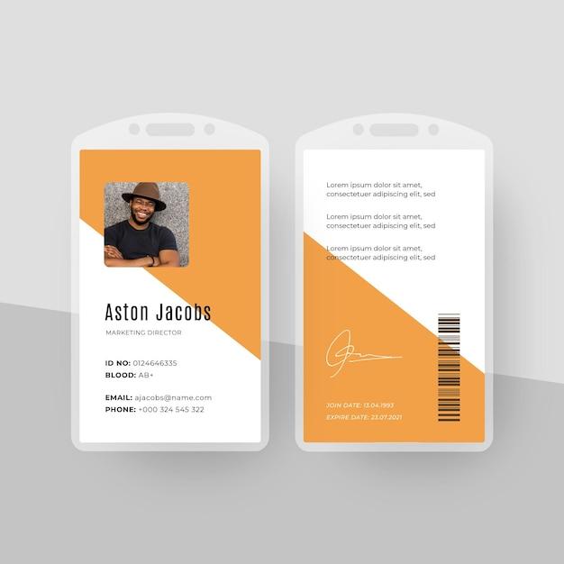 Plantilla de tarjetas de identificación de estilo minimalista con foto vector gratuito