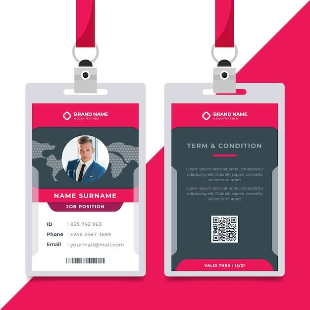 Plantilla de tarjetas de identificación minimalista con foto vector gratuito