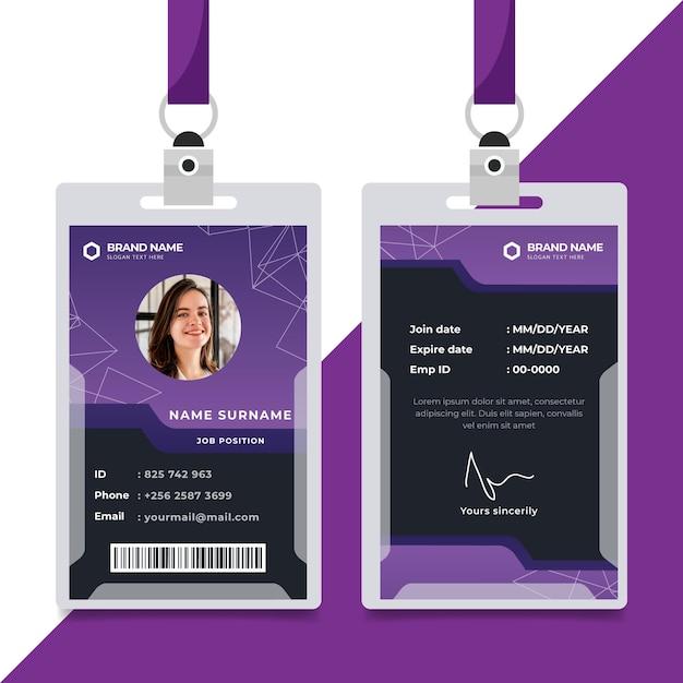 Plantilla de tarjetas de identificación púrpura de diseño abstracto Vector Premium