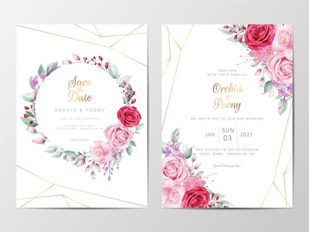 Plantilla de tarjetas de invitación de boda floral moderna con decoración de flores Vector Premium