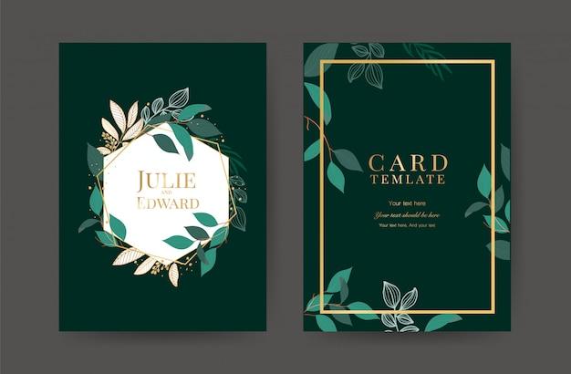 Plantilla de tarjetas de invitación de boda de lujo Vector Premium