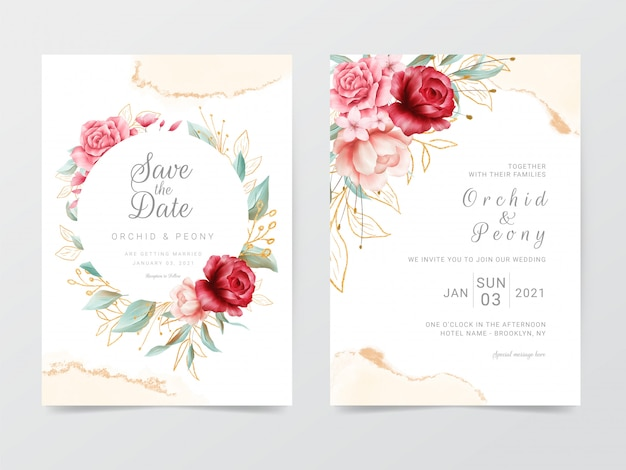 Plantilla de tarjetas de invitación de boda con marco de flores y acuarela Vector Premium