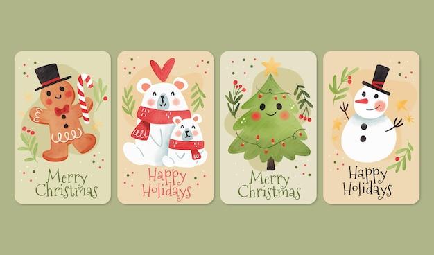 Plantilla de tarjetas de navidad en acuarela vector gratuito