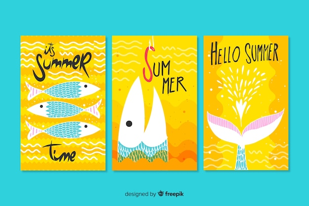 Plantilla de tarjetas de verano dibujadas a mano vector gratuito