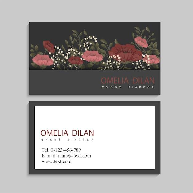 Plantilla de tarjetas de visita flores rojas y rosadas vector gratuito