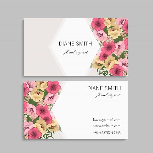 Plantilla de tarjetas de visita flores rosas y amarillas vector gratuito