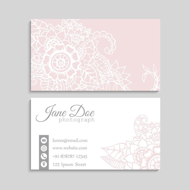Plantilla de tarjetas de visita de flores vector gratuito