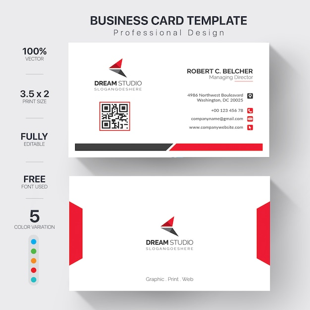 Plantilla de tarjetas de visita moderna con variación de 5 colores vector gratuito