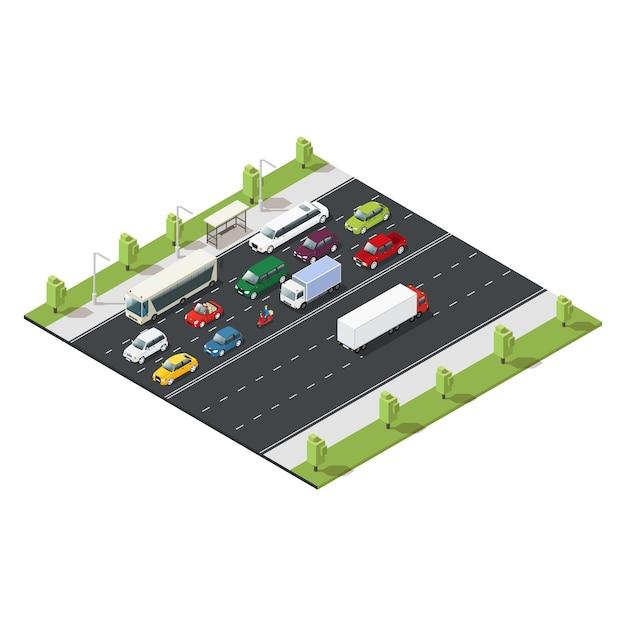 Plantilla de tráfico urbano isométrico vector gratuito