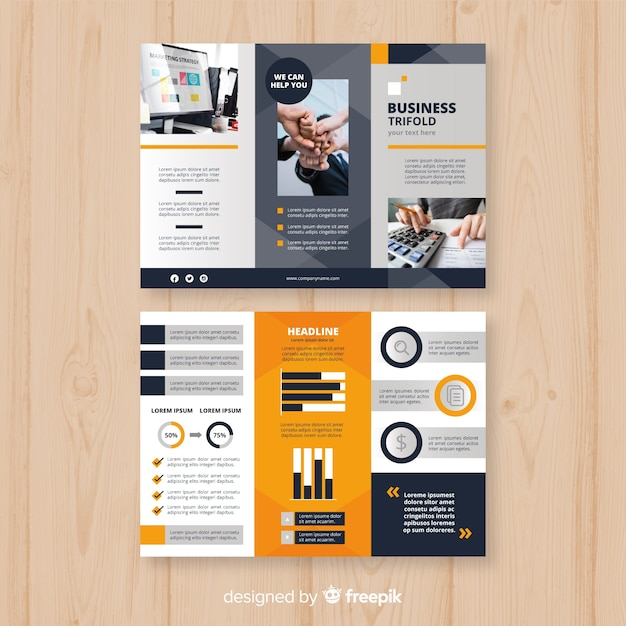 Plantilla tríptica de folleto de negocios vector gratuito