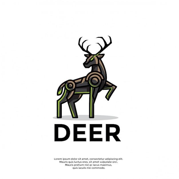 Plantilla única de logotipo de ciervo robótico Vector Premium