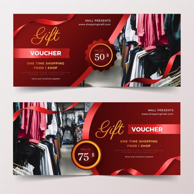 Plantilla de vale de regalo con foto Vector Premium