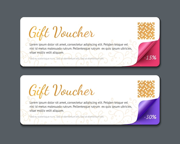 Plantilla de vale de regalo, ilustración realista de banner de papel con esquina de rizo aislado sobre fondo oscuro. Vector Premium