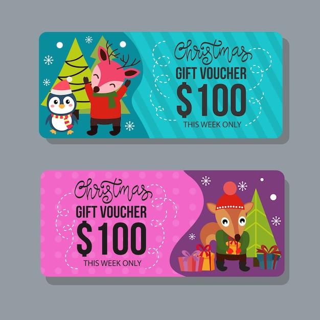 Plantilla de vale de regalo de navidad con personajes felices Vector Premium