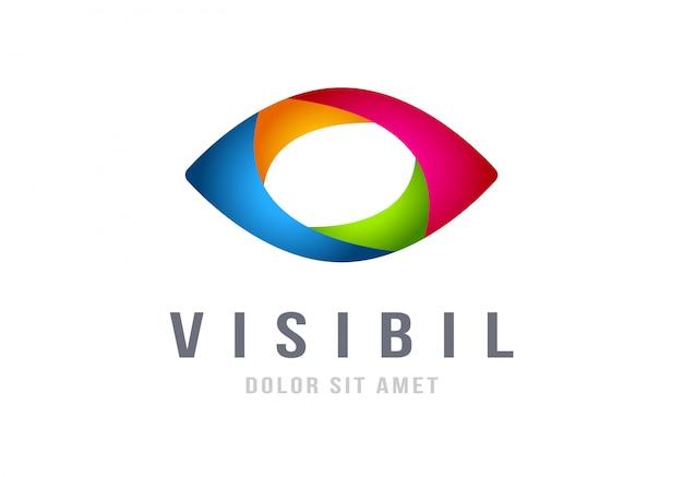 Plantilla de vector de diseño abstracto colorido logotipo de ojo Vector Premium
