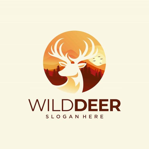 Plantilla de vector de diseño de logo de ciervos coloridos Vector Premium