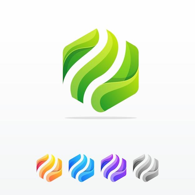 Plantilla de vector de diseño de logotipo abstracto de hexágono Vector Premium
