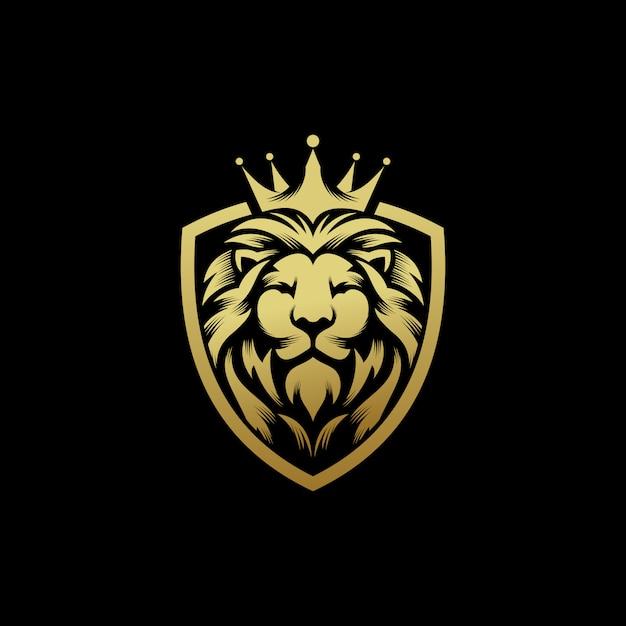 Plantilla de vector de diseño de logotipo de rey león Vector Premium