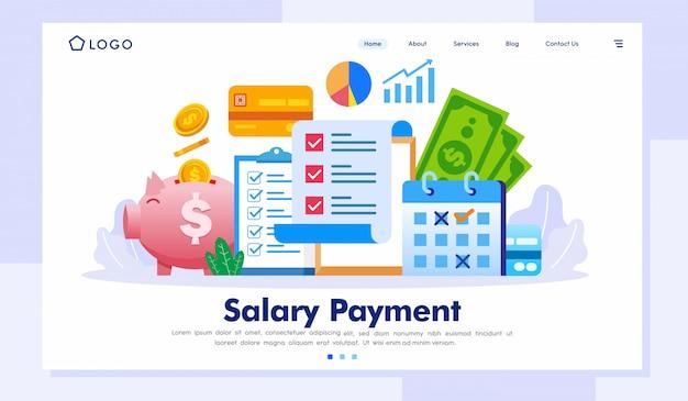 Plantilla de vector de ilustración de página de destino de pago de salario Vector Premium