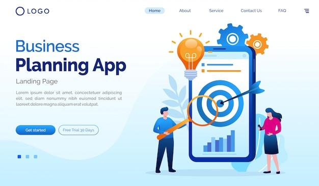 Plantilla de vector de ilustración plana de la página de inicio de la aplicación de planificación de negocios Vector Premium