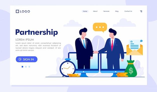 Plantilla de vector de ilustración de sitio web de página de inicio de asociación Vector Premium