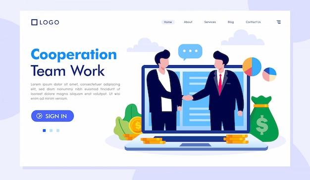 Plantilla de vector de ilustración de sitio web de trabajo de equipo de cooperación Vector Premium