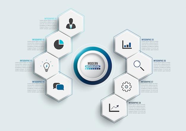 Plantilla de vector infografía con etiqueta de papel 3d, círculos integrados. concepto de negocio con 8 opciones. Vector Premium