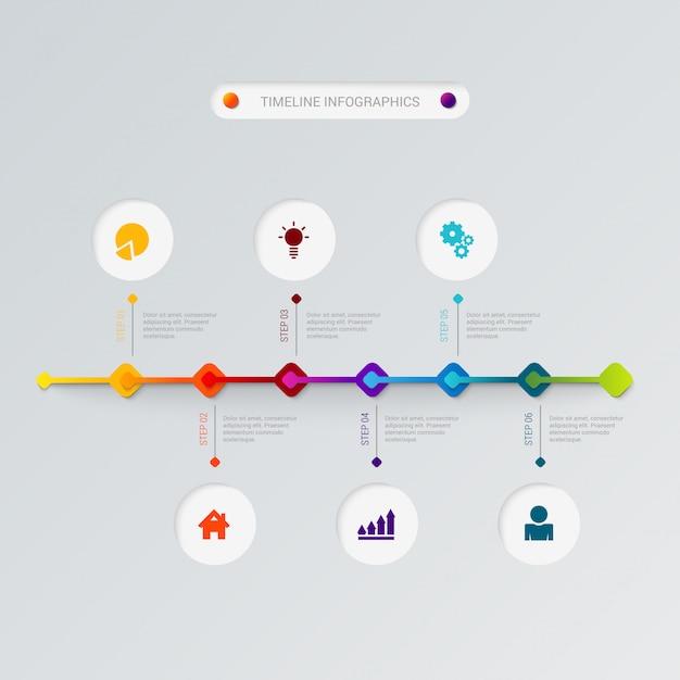 Plantilla de vector de infografía línea de tiempo. vector gratuito