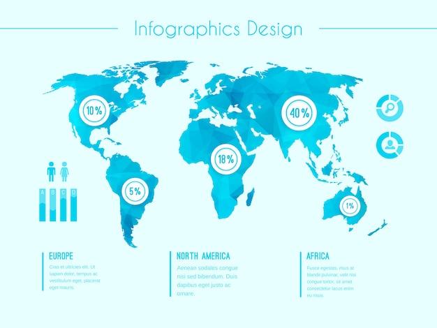 Plantilla de vector de infografía de mapa mundial que muestra las áreas demográficas europa américa del norte áfrica con porcentajes proporcionales de estadísticas y columnas de texto en azul vector gratuito