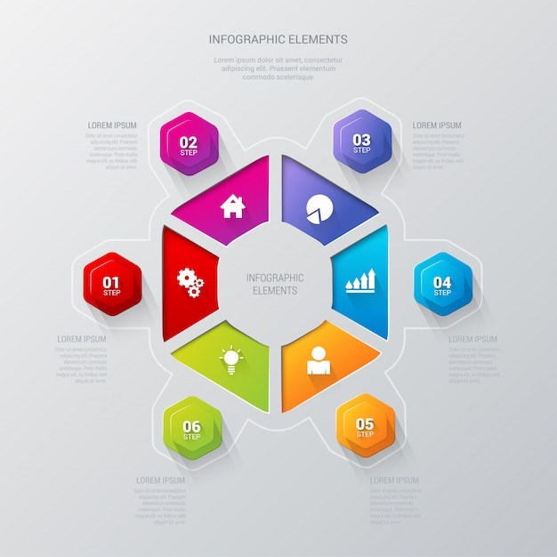 Plantilla de vector de infografía sector hexagonal multicolor 6 pasos. vector gratuito