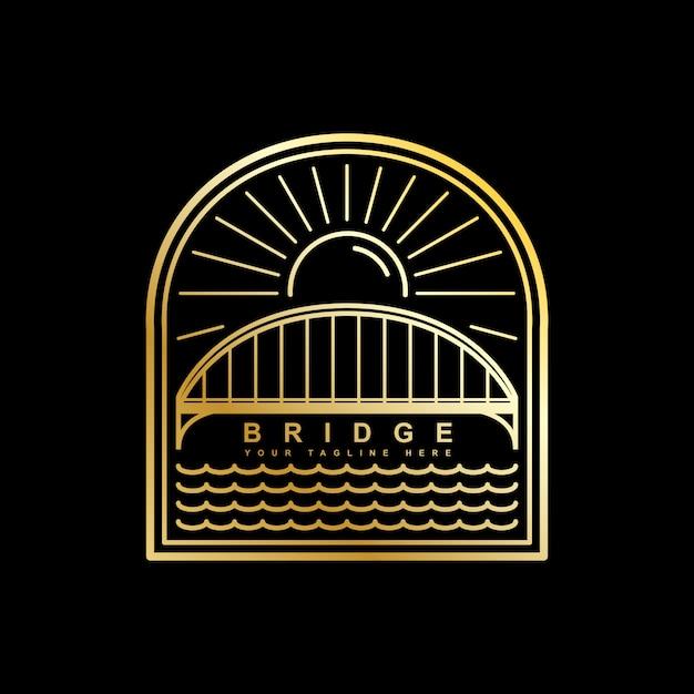 Plantilla de vector logo de puente Vector Premium
