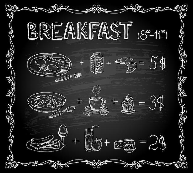 Plantilla de vector menú de pizarra de desayuno cartel vintage vector gratuito