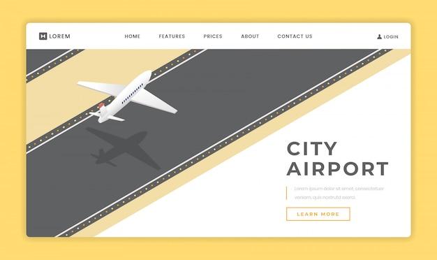 Plantilla de vector de página de aterrizaje del aeropuerto de la ciudad Vector Premium