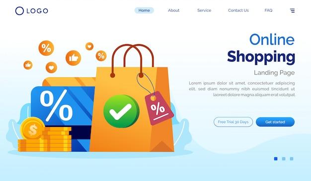 Plantilla de vector plano de ilustración de sitio web de página de aterrizaje de compras en línea Vector Premium