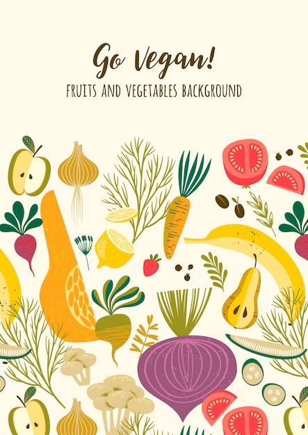 Plantilla de vectores con frutas y verduras Vector Premium