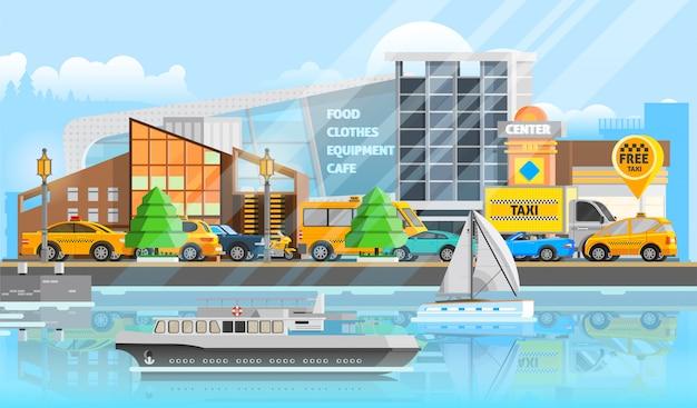 Plantilla de vehículos de taxi vector gratuito