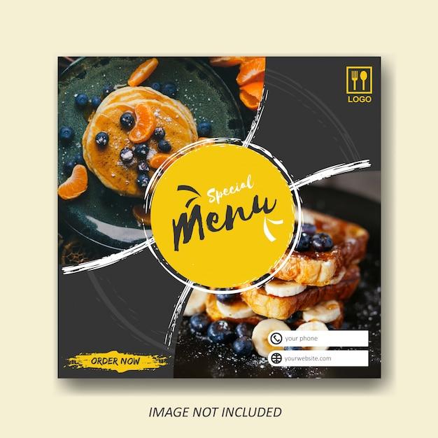 Plantilla de venta de alimentos y gastronomía para publicaciones en redes sociales Vector Premium