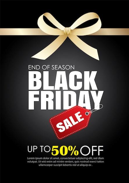 Plantilla de venta viernes negro con cinta dorada Vector Premium