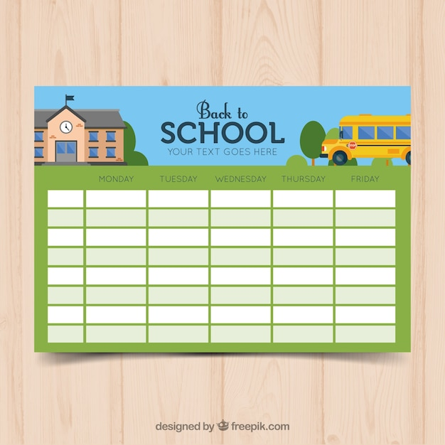 Plantilla verde de calendario escolar | Descargar Vectores gratis