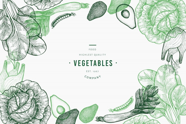 Plantilla de verduras verdes. Vector Premium