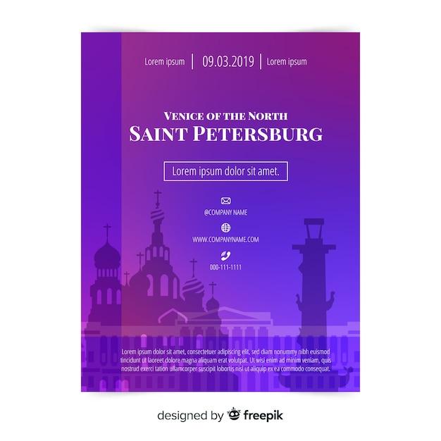 Plantilla de viaje a san petersburgo vector gratuito