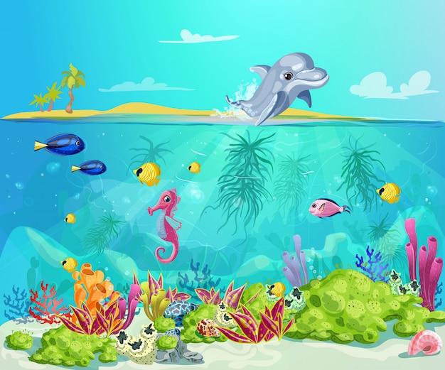 Plantilla de vida marina de dibujos animados vector gratuito