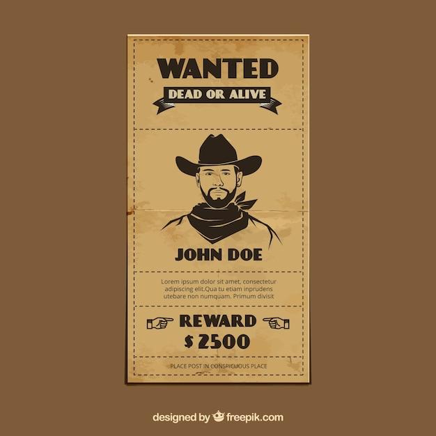 Plantilla vintage de cartel de se busca vector gratuito