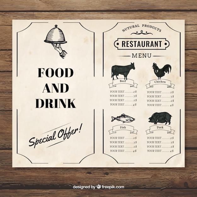 Plantilla vintage de menu de restaurante | Descargar