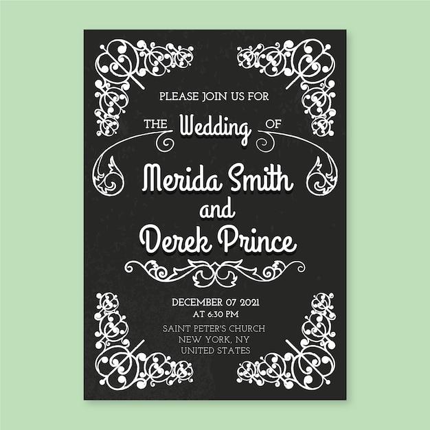 Plantilla vintage de invitación de boda vector gratuito