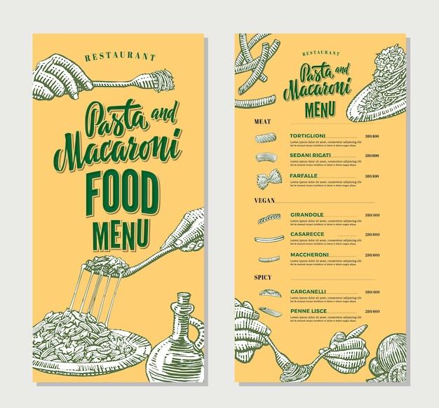 Plantilla vintage de menú de comida de restaurante de pasta vector gratuito