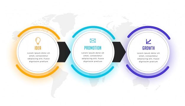 Plantilla de visualización de infografía empresarial de tres pasos vector gratuito