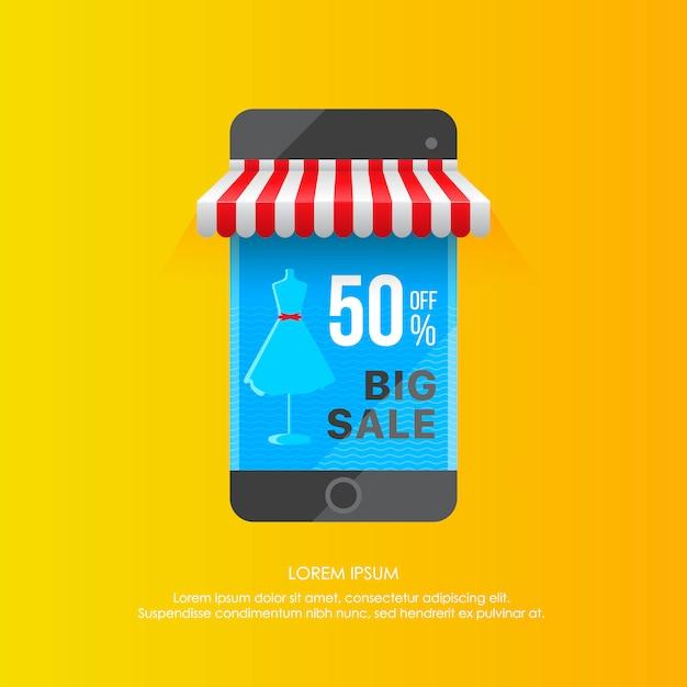 Plantilla vívida de pantalla de teléfono inteligente con gran venta Vector Premium