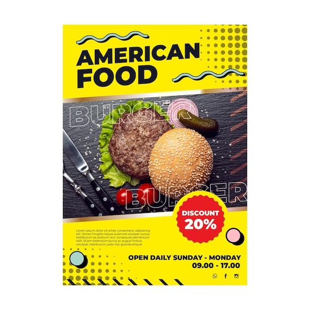 Plantilla de volante de comida americana vector gratuito